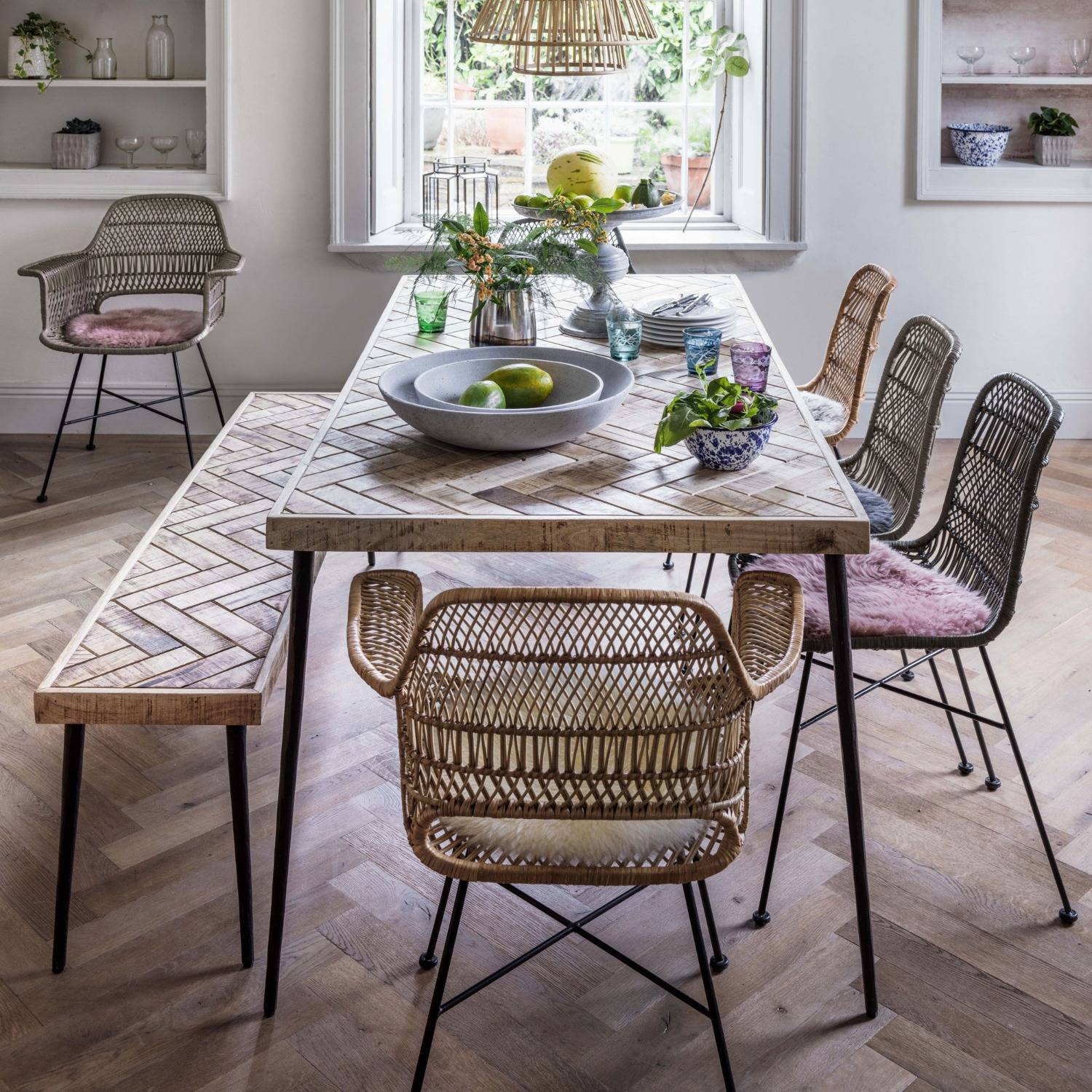 An image of Amaliah Chevron Dining Table