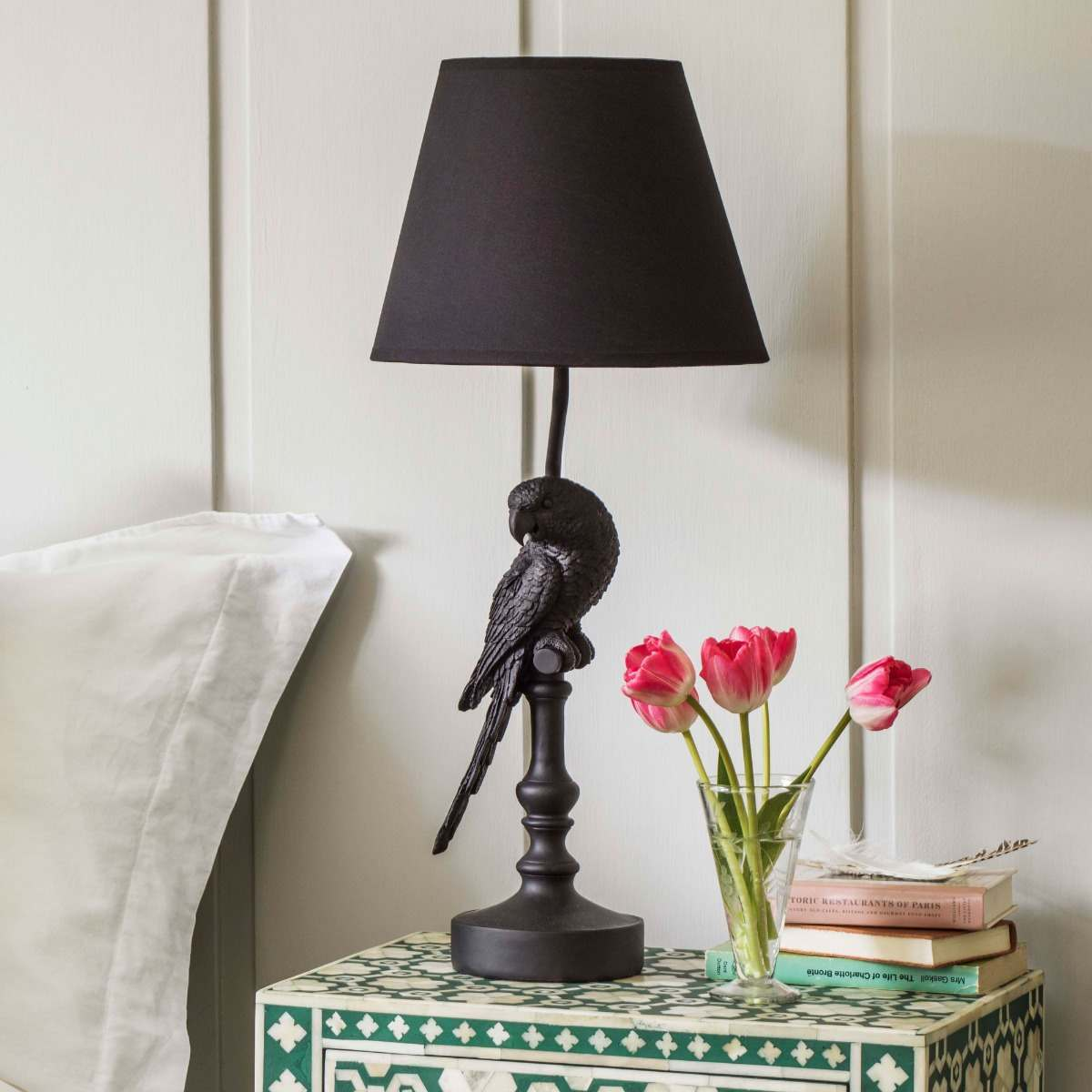 An image of Black Parrot Lamp with Shade