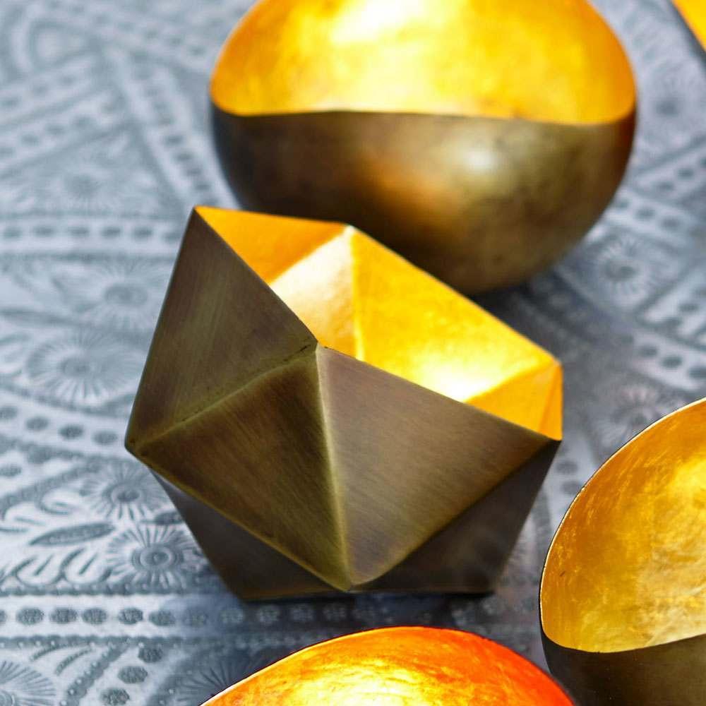 An image of Gold Angular Tea Light Holder