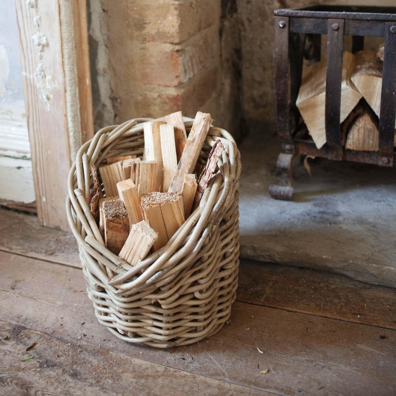 An image of Wicker Kindling Basket