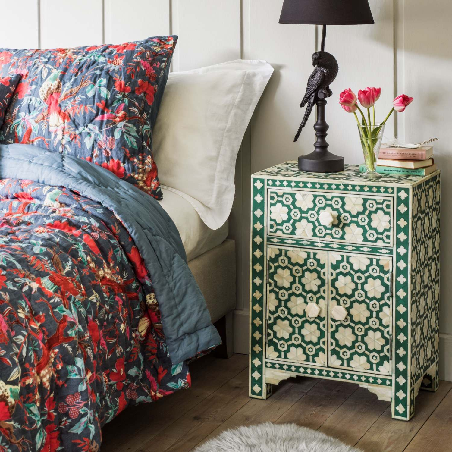 An image of Jade Green Floral Bone Inlay Bedside Table
