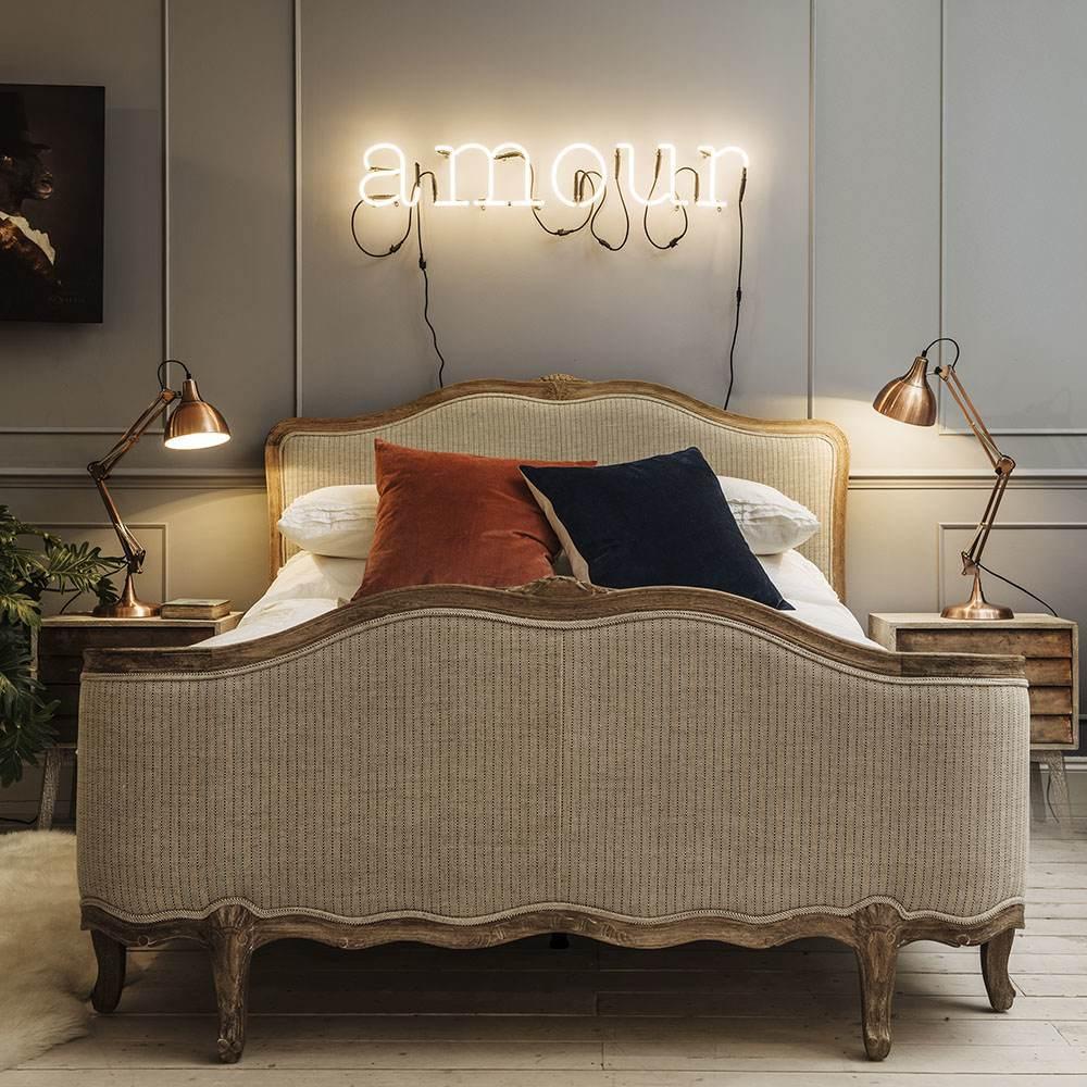 Antoinette Herringbone King Size Bed with Footboard
