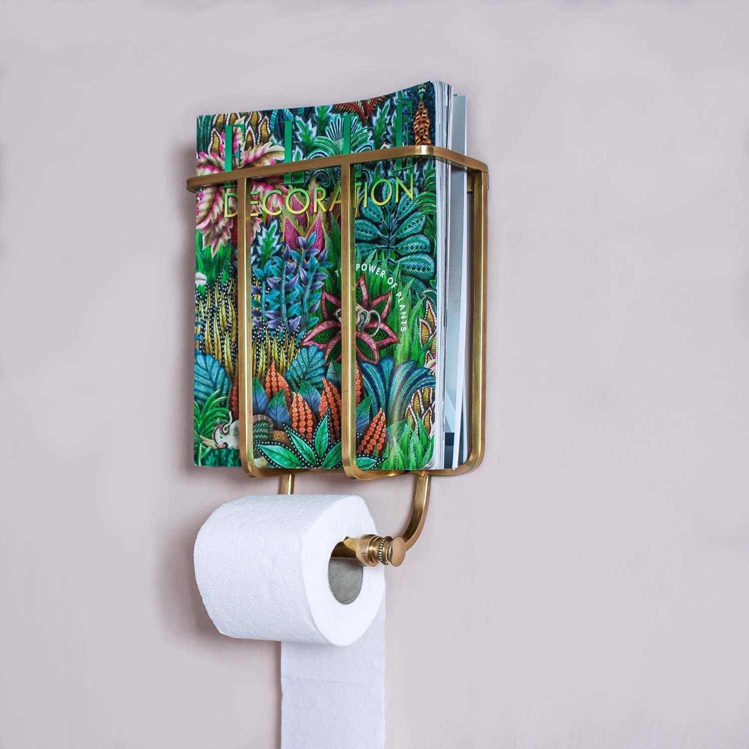An image of Baldwin Antique Gold Magazine and Toilet Roll Holder