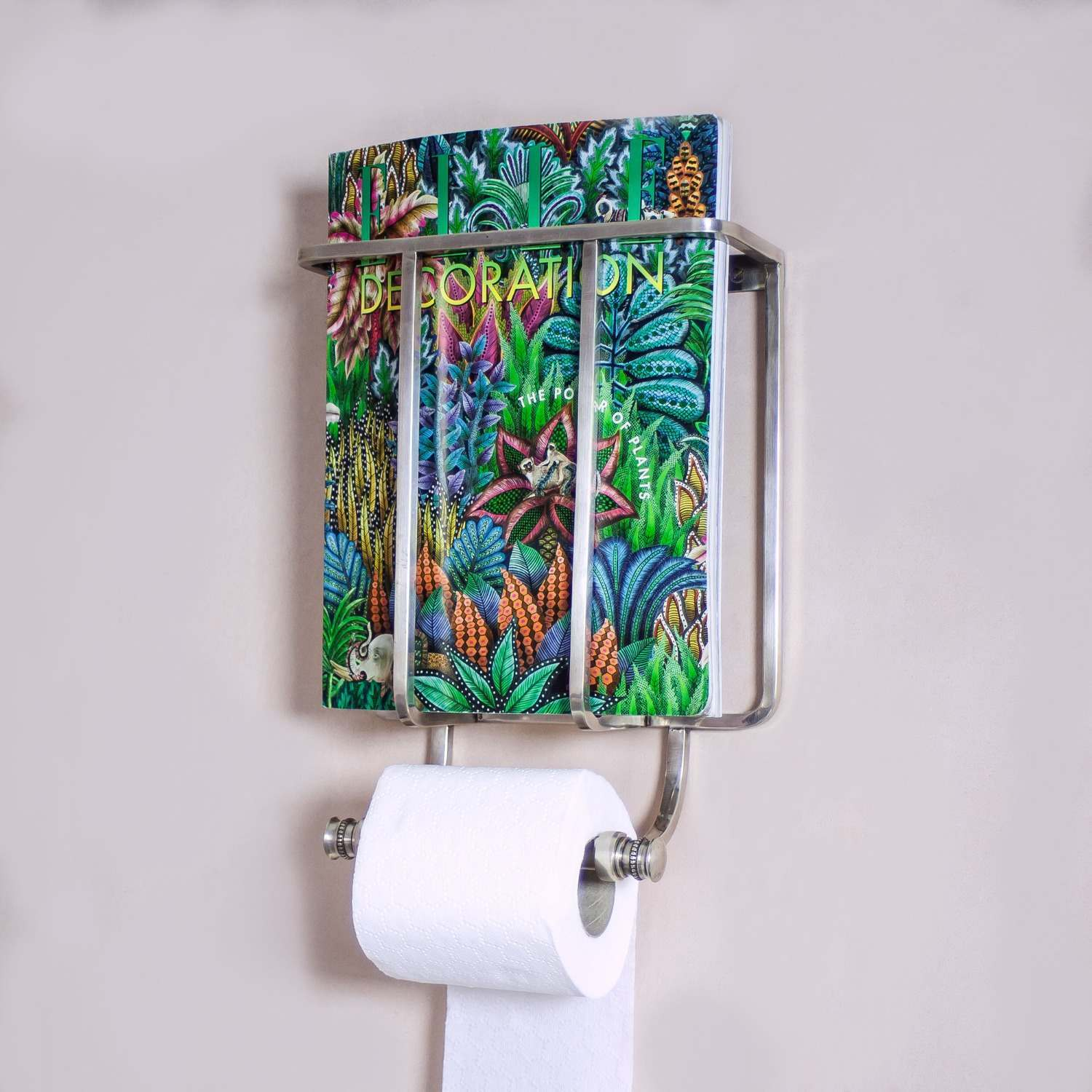 An image of Baldwin Antique Silver Magazine and Toilet Roll Holder